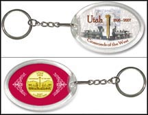 Utah - Crossroads Of The West Keychain - with Gold Plated State Quarter