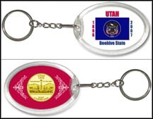 Utah - State Flag Keychain - with Gold Plated State Quarter