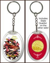 Vermont - State Bird & Flower Keychain - with Gold Plated State Quarter