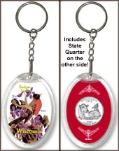 Wisconsin - State Bird & Flower Keychain