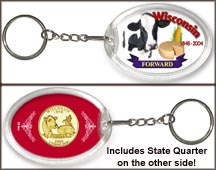 Wisconsin - Forward Keychain - with Gold Plated State Quarter
