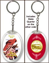West Virginia - State Bird & Flower Keychain - with Gold Plated State Quarter