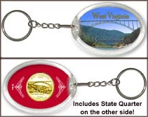 West Virginia - Mountaineers Keychain - with Gold Plated State Quarter