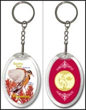 Wyoming - State Bird & Flower Keychain - with Gold Plated State Quarter