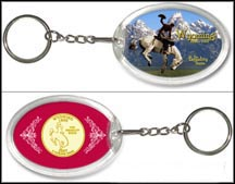 Wyoming - Cowboy Keychain - with Gold Plated State Quarter