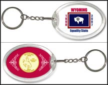 Wyoming - State Flag Keychain - with Gold Plated State Quarter