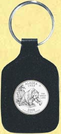 Alaska Quarter Leather Keyring