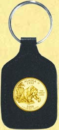 Alaska Quarter Leather Keyring - with Gold Plated State Quarter