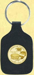 American Samoa Quarter Leather Keyring - with Gold Plated Territorial Quarter