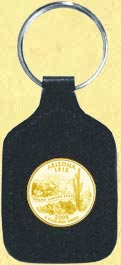 Arizona Quarter Leather Keyring - with Gold Plated State Quarter
