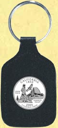 California Quarter Leather Keyring
