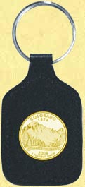 Colorado Quarter Leather Keyring - with Gold Plated State Quarter