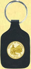 District of Columbia Quarter Leather Keyring - with Gold Plated Territorial Quarter
