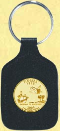 Florida Quarter Leather Keyring - with Gold Plated State Quarter