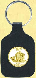 Kansas Quarter Leather Keyring - with Gold Plated State Quarter