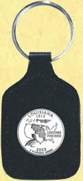 Louisiana Quarter Leather Keyring