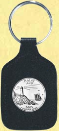 Maine Quarter Leather Keyring