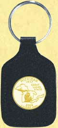Michigan Quarter Leather Keyring - with Gold Plated State Quarter