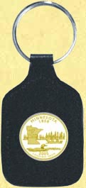 Minnesota Quarter Leather Keyring - with Gold Plated State Quarter