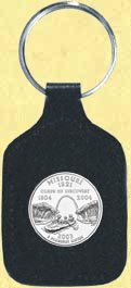 Missouri Quarter Leather Keyring