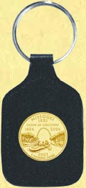 Missouri Quarter Leather Keyring - with Gold Plated State Quarter