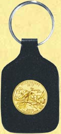 Mississippi Quarter Leather Keyring - with Gold Plated State Quarter