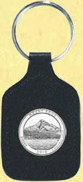 Mt. Hood National Forest Quarter Leather Keyring
