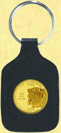 New Hampshire Quarter Leather Keyring - with Gold Plated State Quarter