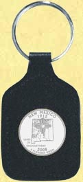 New Mexico Quarter Leather Keyring