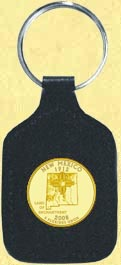 New Mexico Quarter Leather Keyring - with Gold Plated State Quarter