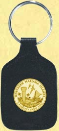 Northern Mariana Islands Quarter Leather Keyring - with Gold Plated Territorial Quarter