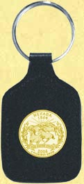Nevada Quarter Leather Keyring - with Gold Plated State Quarter