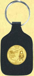 Ohio Quarter Leather Keyring - with Gold Plated State Quarter MAIN