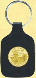 Puerto Rico Quarter Leather Keyring - with Gold Plated Territorial Quarter
