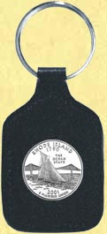 Rhode Island Quarter Leather Keyring