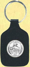 South Dakota Quarter Leather Keyring