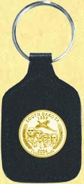 South Dakota Quarter Leather Keyring - with Gold Plated State Quarter