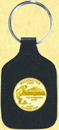 Washington Quarter Leather Keyring - with Gold Plated State Quarter