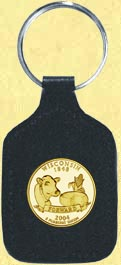 Wisconsin Quarter Leather Keyring - with Gold Plated State Quarter