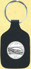 West Virginia Quarter Leather Keyring