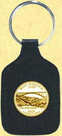 West Virginia Quarter Leather Keyring - with Gold Plated State Quarter