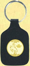 Wyoming Quarter Leather Keyring - with Gold Plated State Quarter