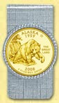 Alaska Quarter Money Clip - with Gold Plated State Quarter