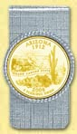 Arizona Quarter Money Clip - with Gold Plated State Quarter