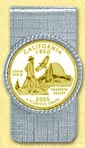 California Quarter Money Clip - with Gold Plated State Quarter