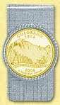 Colorado Quarter Money Clip - with Gold Plated State Quarter