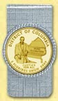 District of Columbia Quarter Money Clip - with Gold Plated Territorial Quarter