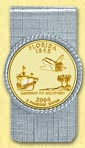 Florida Quarter Money Clip - with Gold Plated State Quarter