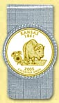 Kansas Quarter Money Clip - with Gold Plated State Quarter