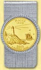 Maine Quarter Money Clip - with Gold Plated State Quarter